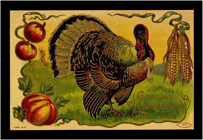 Thanksgiving 1909 Truthahn Taggart Art Turquie Turkey Präge Litho Relief