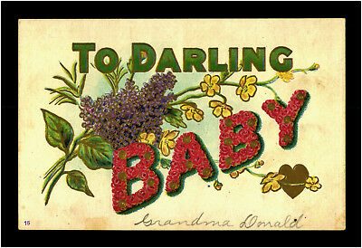 To Darling Baby c 1910 Big Letter Flowers Präge Litho Ak