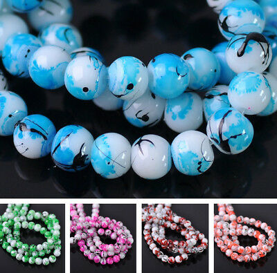 NEW 100pcs 6mm Round Glass Colorful Loose Spacer Beads Jewelry Findings DIY