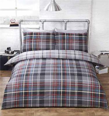 KING SIZE duvet set tartan check quilt cover reversible bedding grey red & blue