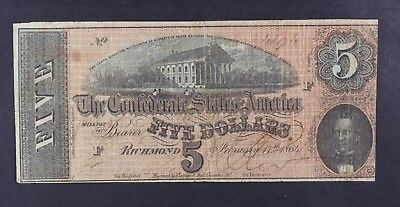 1864 Confederate States of America $5 Five Dollar Bill Civil War Currency  T-69