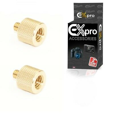 "Ex-Pro 3/8"" inch Female to 1/4"" inch Male Brass Tripod Thread Adapter -Pack of 2"
