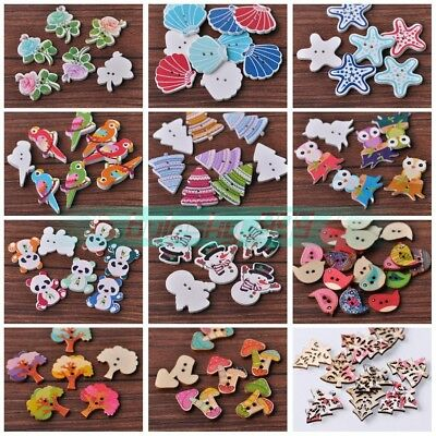 Wholesale 20pcs Assorted Shape Wood Spacer Wooden Buttons Beads DIY Findings