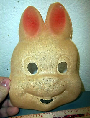 vintage Gauze tan Rabbit Halloween Mask from the 1940s, creepy as it gets!