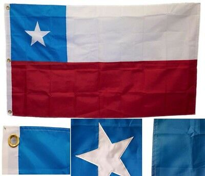 3x5 Embroidered Sewn Chile South America 300D Nylon Flag 3'x5' 3 Clips