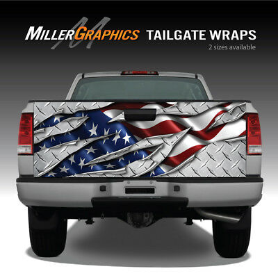 American Flag Ripped Metal Diamond Plate Truck Tailgate Wrap Decal Graphic
