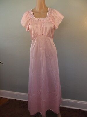 Vintage 1960s~Art Deco Inpired Pink Nylon/Eyelet Lace Nightgown by MOVIE STAR~M