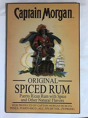 Captain Morgan Original Spiced Rum Wooden 3-D Pirate Official Crew Gear Bar Sign