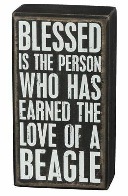"Blessed Earned Love of Beagle Sign Primitives Kathy 3"" x 5.5"" wood"