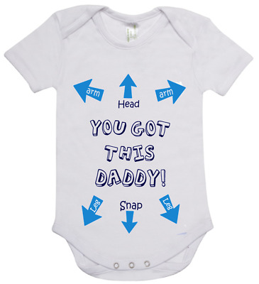 Baby romper suit one piece short sleeve cute design YOU GOT THIS DADDY cotton