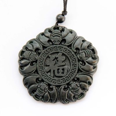 Chinese Natural jade hand engraving Bats Word FU Amulet Pendant
