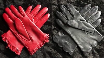 Lot Of Two Vintage Leather Driving Gloves Black Red 8