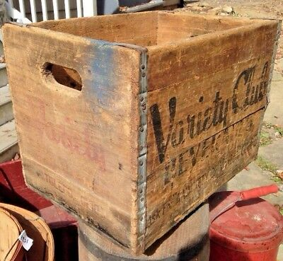 Vintage Variety Club Beverage Wooden Crate Box Soda Case advertising Soda pop