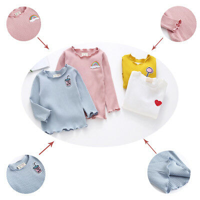 New Toddler Kids Baby Girls Thread Fungus Casual Bottoming T-shirt Tops  Clothes