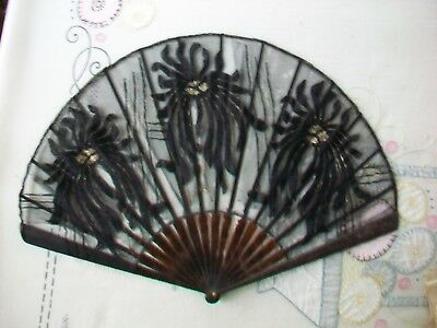 Antique black French Faucon Eventails hand fan w/ box; tortoise shell ?