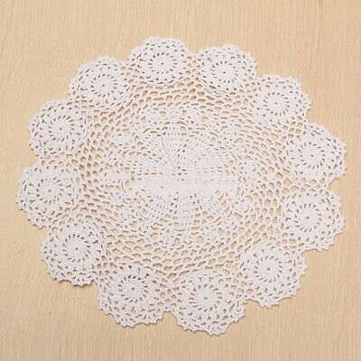 37CM Round Pure Cotton Handmade Crochet Lace Flower Coaster Table Mat Doily