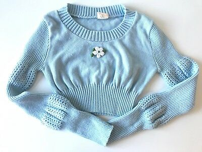 Vtg 70s Crop Sweater Long Sleeve Top Baby Blue XS