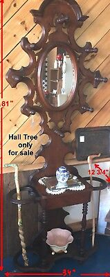 Antique Hall Tree with Mirror, Umbrella/Cane holder, 8 Hat/Coat racks, 2 shelves