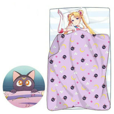 Neu! Sailor Moon Cosplay Plush Luna Cat Blanket Pillow Case Bed Sheet Sleep Rug