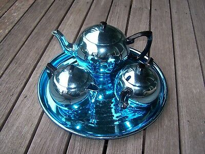 Vintage Blue Anodised Towerbrite Tea Set With Sugar Bowl Milk Jug Teapot & Tray
