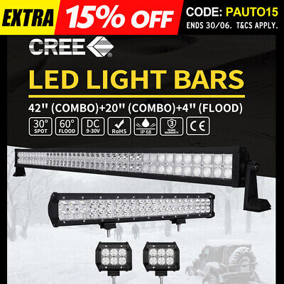 """42Inch LED Light Bar Combo + 20"""" + 4"""" CREE PODS OFFROAD SUV 4WD ATV FORD JEEP 40"""