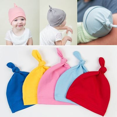 Cotton Beanie Newborn Baby Knotted Hat Boys and Girls Soft Cap Infant Toddle AU