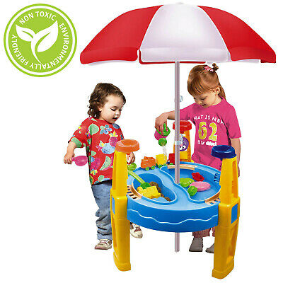 Large Sand and Water Table with Umbrella Parasol Garden Sandpit Play Set Toy