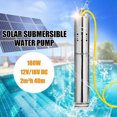 180W DC 12V Solar Water Powered Pump Submersible Bore Hole Pond Deep Well Pump