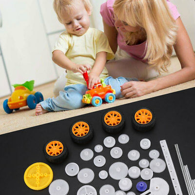 78pc Plastic Gear Wheel Pulley Rack Shaft Belt SET Kids Gift Toy Accessory DIY l