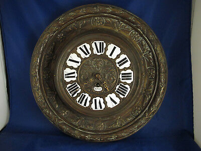 antique brass cased French Depose wall clock with porcelain numerals & lion