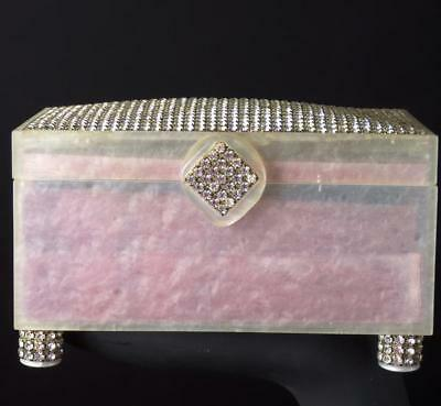1950s White Lucite & Rhinestone Jewelry Box