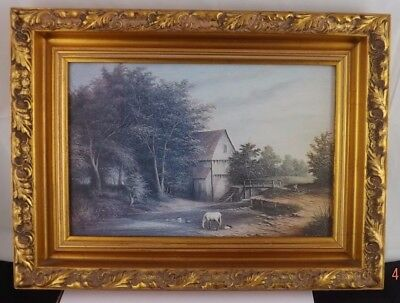 Oil Art Painting On Board By R Cavalla No Glass In Frame Vintage Farmyard Scene