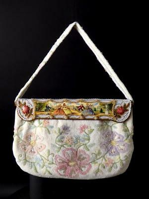 1960s Multi Color Floral Beaded Evening Bag