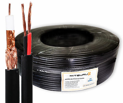 Mitsuru® RG59 Coaxial Shotgun Cable for CCTV Camera-Video+Power-100m / 75 Ohm
