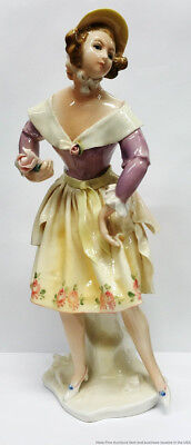 Antique Karl Ens Volkstedt Germany Lady W Flowers Porcelain Figurine Vintage
