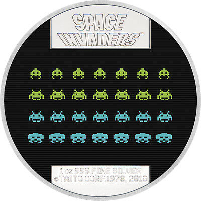 1 Oz Silber Proof Lenticular Space Invaders 40th Anniversary 2$ Niue 2018 silver