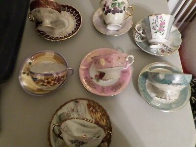 Lot of 7 Iridescent Tea Cups and Saucer Sets