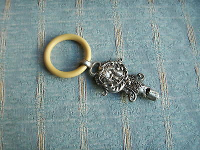 Old Vintage Antique English Sterling Silver Baby Rattle Whistle Teething Ring