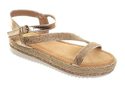 a0ad41108 Women's Champange Diamante Sparkly Strappy Flat Sandals Ladies Comfy  Occasion Su