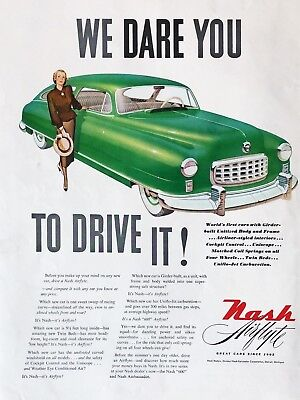 Original 1949 Print Ad NASH Airflyte Vintage Green Car 2 Door Sedan