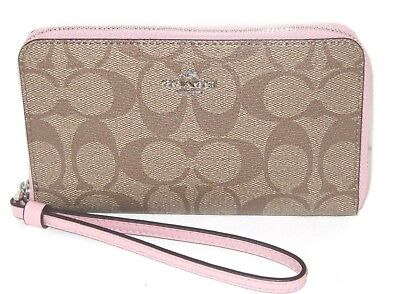 Coach F57468 Zip Around Phone Wallet Signature Khaki Blush Pink Wristlet NWT$165