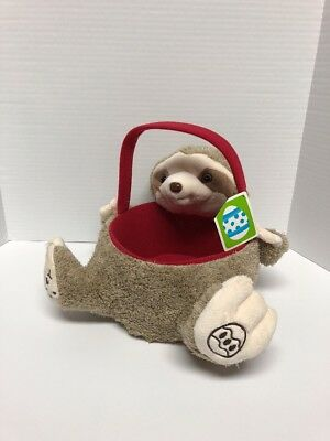 Happy Easter SLOTH Stuffed Animal Plush Easter Basket 7 Inch  NEW Hard To Find