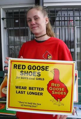 Red Goose Shoes Porcelain Advertising Sign Shoe Boot Store Shop Boys And Girls