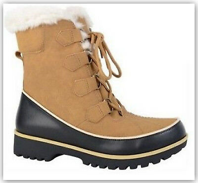 ff80f6ed80044 PORTLAND BOOT COMPANY Women's Igloo Snow Boots Faux Leather/Fur Tan 6.5M or  8M