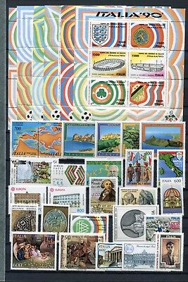 ITALY 1990 MNH COMPLETE COMMEMORATIVE (No Def) YEAR 26 stamps + 6 SHEETS