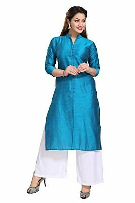 Women-Full-Sleeved-Silk-Kurta-Shirt-Indian-Ethnic-Kurti Silk Formal Size S-7XL