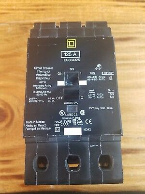 EGB34125 Square D SQD Type EGB Circuit Breaker 3 Pole 125 Amp 480V (New)