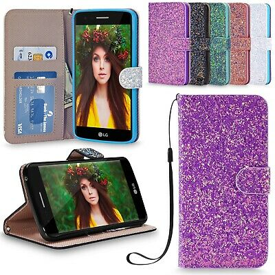 For LG K8 2017 Case Shiny Glitter Leather Wallet Case Flip Cover Tempered Glass