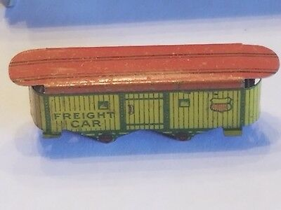 1930 FREIGHT CAR Cracker Jack Tin Prize Toy Train Litho Yellow Red Rare Old