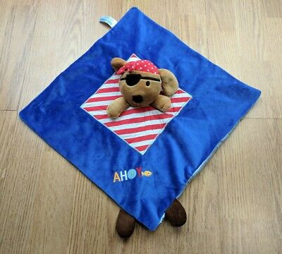 Ahoy Pirate Puppy Security Blanket Dog Baby Blue Lovey Plush Kids Preferred